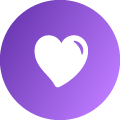A white heart icon placed within a purple gradient circle.