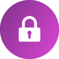 A white icon of a padlock, placed within a fuschia gradient-colored circle.