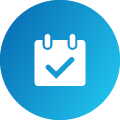 A white icon of a calendar with a checkmark placed within a blue gradient circle. This represents daily and comprehensive habit tracking with the Nukshuk app.